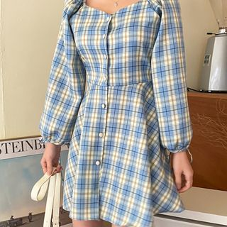 Cherryville - Button-Front Plaid Minidress