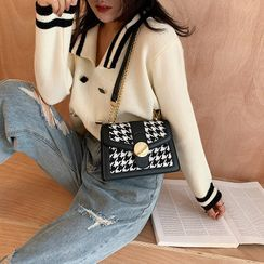 Miloes - Chain Strap Patterned Faux Leather Shoulder Bag