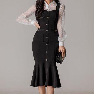 ISMY(イズミー) - Set: Lace Shirt + Ruffle Hem Overall Dress