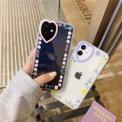 Surono - Floral Print Transparent Phone Case - iPhone 12 Pro Max / 12 Pro / 12 / 12 mini / 11 Pro Max / 11 Pro / 11 / SE / XS Max / XS / XR / X / SE 2 / 8 / 8 Plus / 7 / 7 Plus