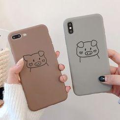 Aion - 小猪印花手机套 - iPhone XS Max / XS / XR / X / 8 / 8 Plus / 7 / 7 Plus / 6s / 6s Plus