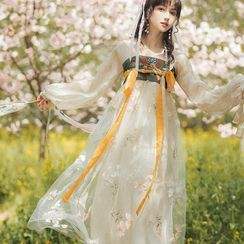Tangier - Long-Sleeve Flower Embroidered Hanfu Dress