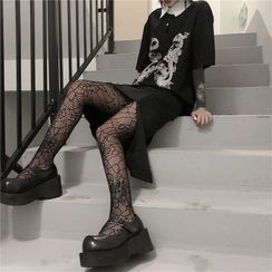 Malnia Home - Distressed Spiderweb Pattern Tights