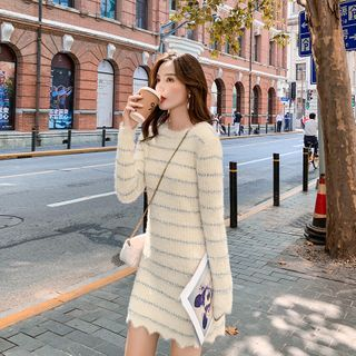 Fabflower(ファブフラワー) - Long-Sleeve Striped Knit Mini Dress
