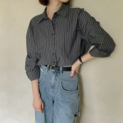 Seoul Fashion - PLUS SIZE Loose-Fit Stripe Shirt
