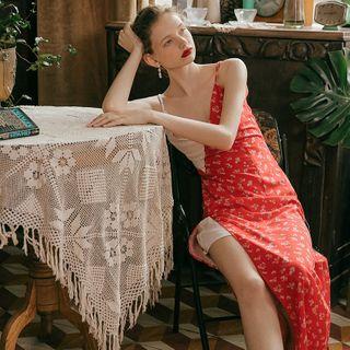 Sincethen - Floral Panel Strappy Midi Sun Dress