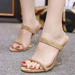 Anran - Clear Wedge Heel Sandals