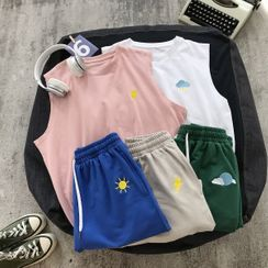 SuperLittle - Embroidered Tank Top + Embroidered Sweat Shorts