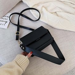 Skyglow - Faux Leather Flap Crossbody Bag
