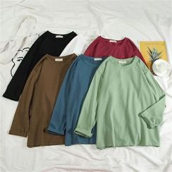 Edise - 纯色长袖T裇