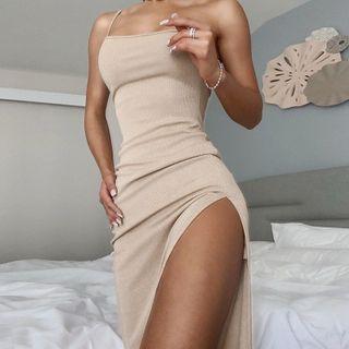 Femme Cradle - 细肩膜单肩开衩塑身连衣长裙