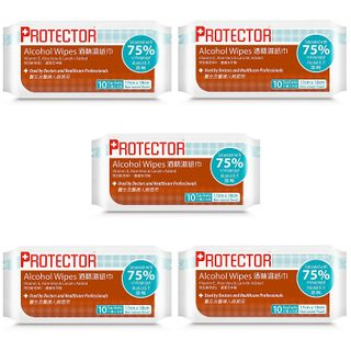 Advance Pharmaceutical(アドバンス ファーマスーティカル) - Protector Alcohol Wipes  (5 packs - each 10pcs)