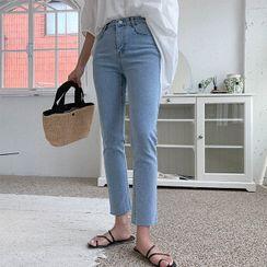 Cherryville - Fray-Hem Straight-Cut Jeans