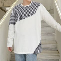 Lamow - Long-Sleeve Houndstooth Panel T-Shirt
