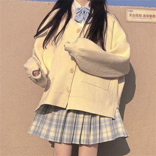 Whoosh Oversize Cardigan / Plaid Mini Pleated Skirt / Shirt | YesStyle