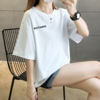 Linchi - Lettering Elbow-Sleeve T-Shirt