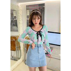 chuu - Zip-Fly Denim Miniskirt
