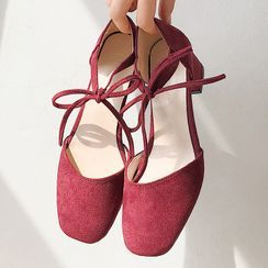 SouthBay Shoes - Bow Block Heel Sandals