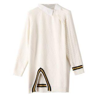 Clinsi - Asymmetric Contrast-Trim Sweater Dress