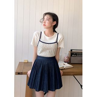 chuu - Accordion-Pleat Denim Miniskirt