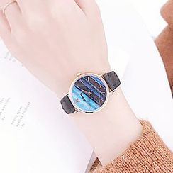 Momento - Printed Roman Numeral Faux Leather Strap Watch