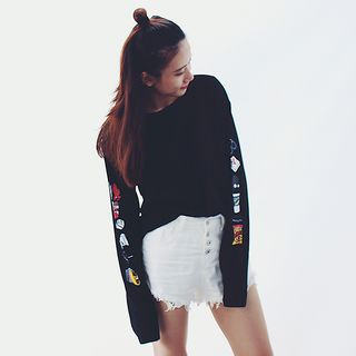 Melon Juice - Printed Long-Sleeve Pullover