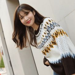 CLICK - Raglan-Sleeve Patterned Sweater