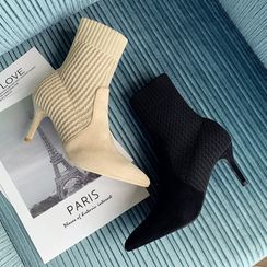Beatrix - Knit Panel Stiletto Heel Short Boots