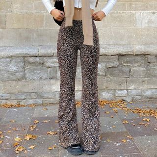 Honet - 豹紋印花寬腿褲
