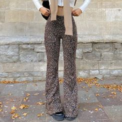 Honet - Leopard Print Wide Leg Pants