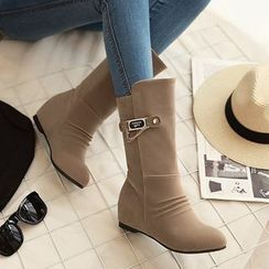 YOUIN - 内增高链条细节中筒靴