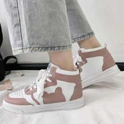 Fromhere - Bear Print High-Top Sneakers