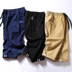 onlyever - 抽绳腰纯色直筒短裤