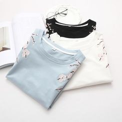 Vateddy - Elbow-Sleeve Embroidered T-Shirt