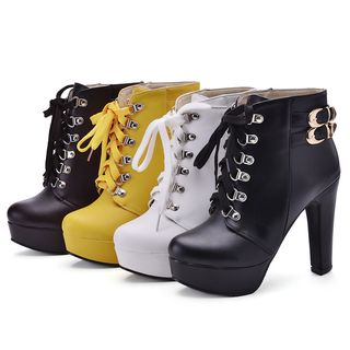 Cinnabelle - Buckled Platform Lace-Up High-Heel Ankle Boots