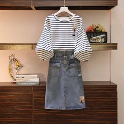 Sugar Town - 3/4-Sleeve Striped T-Shirt / Midi Fitted Denim Skirt / Set