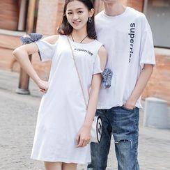Igsoo - Couple Matching Set: Short-Sleeve Lettering Print T-Shirt + Cold Shoulder A-Line Mini Dress