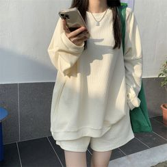 Shinsei - 套装: 纯色卫衣 + 阔脚短裤