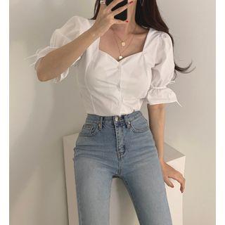 KiTi - Short-Sleeve Plain Lace-Up Blouse
