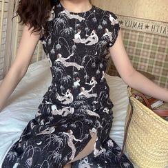 DADANA - Cap-Sleeve Mermaid Print Midi A-Line Dress