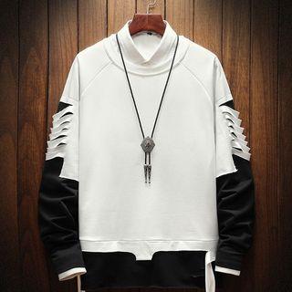 Ferdan - Mock Two-Piece Ripped Sweatshirt