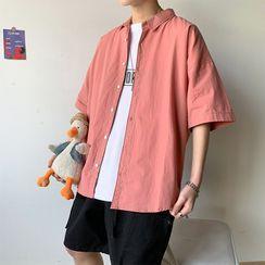 Cowpow - 中袖純色襯衫