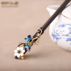 Gangnam - Retro Faux Crystal Flower Hair Stick