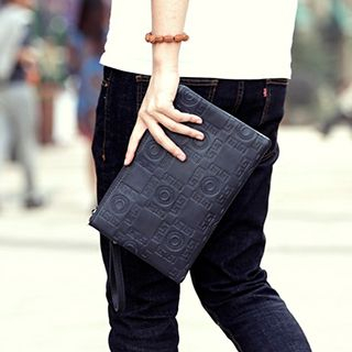 BagBuzz - Patterned  Faux Leather Clutch