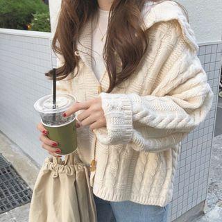 monroll - 牛角扣麻花針織開衫