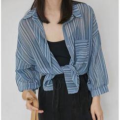 MAVIS - 七分袖條紋雪紡襯衫