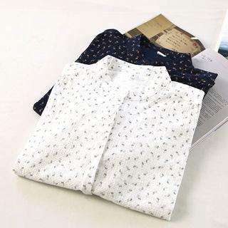 Ranche - Floral Print Band Collar Shirtdress