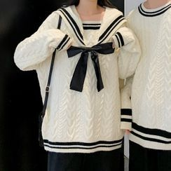 Ink Brush - Couple Matching Contrast Trim Chunky Knit Sweater