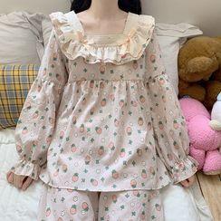 NekNem - Pajama Set: Long-Sleeve Strawberry Print Top + Pants