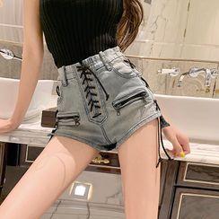 Chimerica - Lace-Up Denim Hot Pants